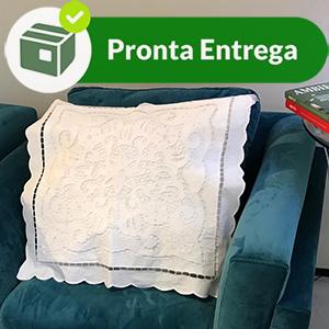 CAPA DE ALMOFADA BORDADO EM RICHELIEU PATROCINIA 50X50CM (1 PAR.)  - Bordados do Ceará - Jutnet