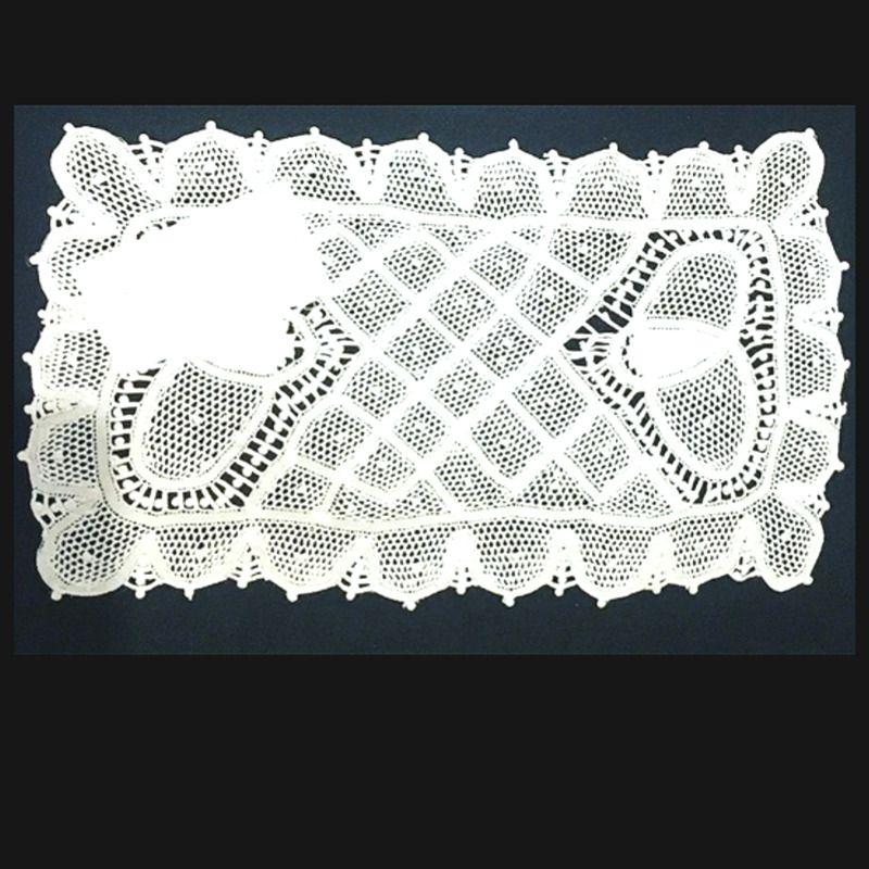 Pano de Bandeja em Renda Renascença Feito a Mão 26x15 cm  - Bordados do Ceará - Jutnet