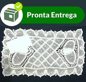 Cobre Bandeja em Renda Renascença 26x15 cm  - Bordados do Ceará - Jutnet