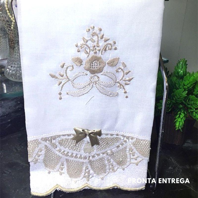 Conjunto Toalha de Lavabo com Renda Renascença Bege (30x50 cm)  - Bordados do Ceará - Jutnet