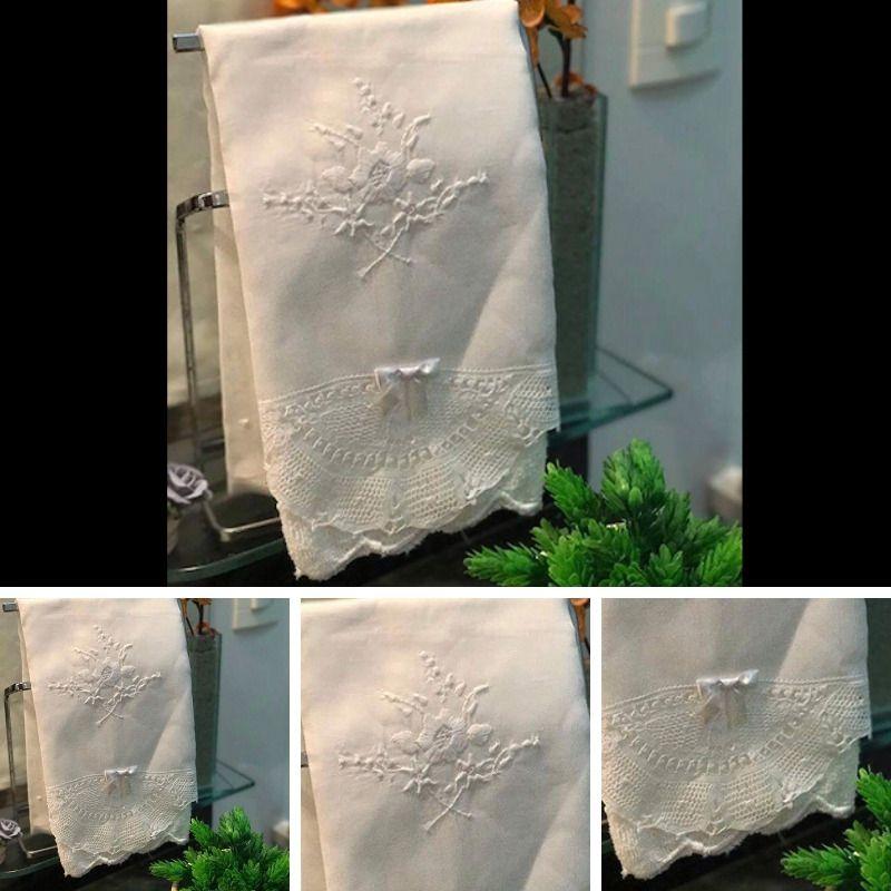 Conjunto Toalha de Lavabo com Renda Renascença (30x50 cm)  - Bordados do Ceará - Jutnet