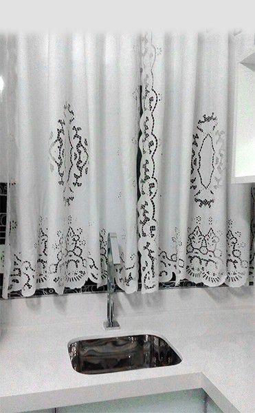 Cortina Bordado Richelieu 1,15 x 1,35 m (LxA) Percal 230 Fios 1 Folha Clarissa  - Bordados do Ceará - Jutnet