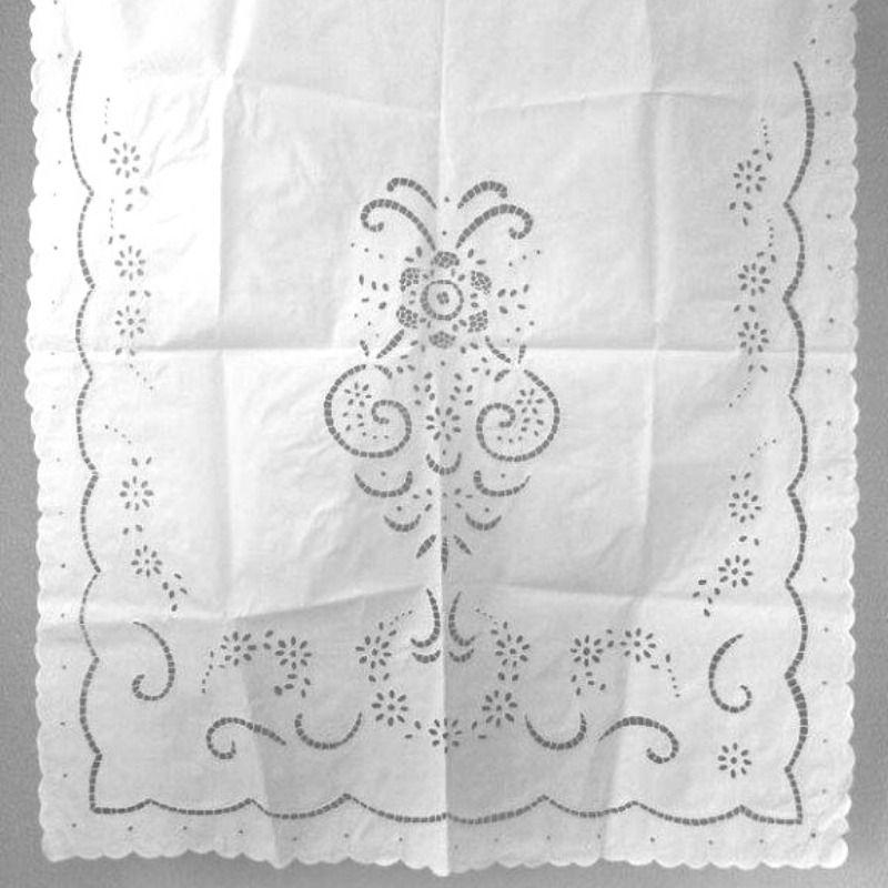 Cortina Bordado Richelieu 1,20x0,80 (LxA) Percal 230 Fios 1 Folha Primavera  - Bordados do Ceará - Jutnet