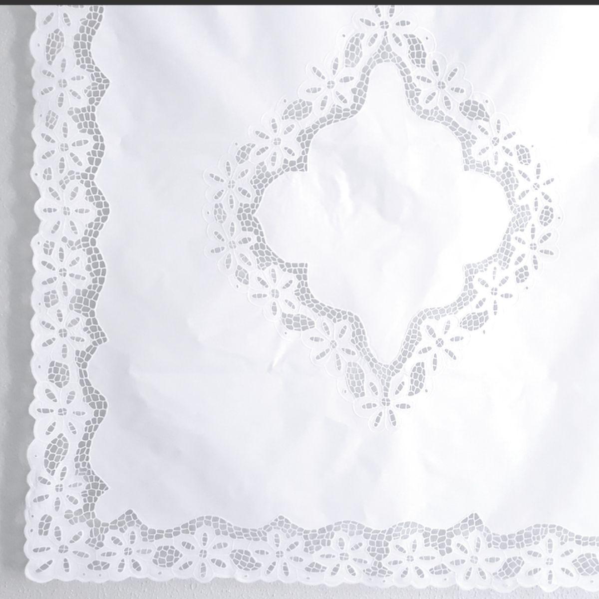 Cortina Bordado Richelieu 1,50x1,50 (LxA) Percal 230 Fios 1 Folha Margarida  - Bordados do Ceará - Jutnet