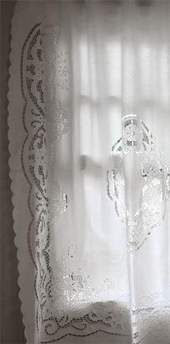 Cortina Bordado Richelieu 100% Algodão Patrocínia 1,25x1,40 LxA (1 Folha)  - Bordados do Ceará - Jutnet