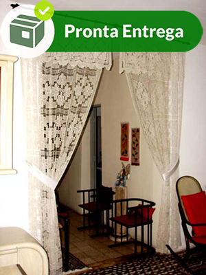 Cortina para Porta em Renda Filé Fio Cru 1,50x2,70 m (2 Folhas)  - Bordados do Ceará - Jutnet