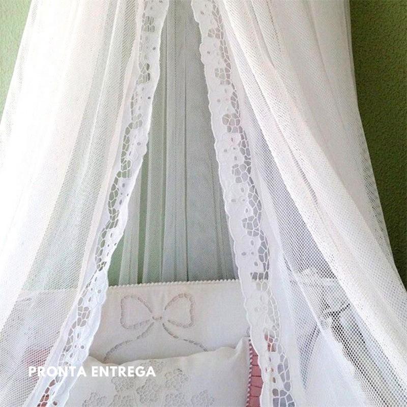 Cortinado Berço para Dossel com Bico Bordado Richelieu Flor Menina  - Bordados do Ceará - Jutnet