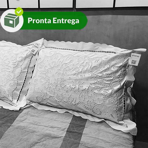 FRONHA EM RICHELIEU 230 FIOS PATROCÍNIA 70X50CM (1 PAR.)  - Bordados do Ceará - Jutnet