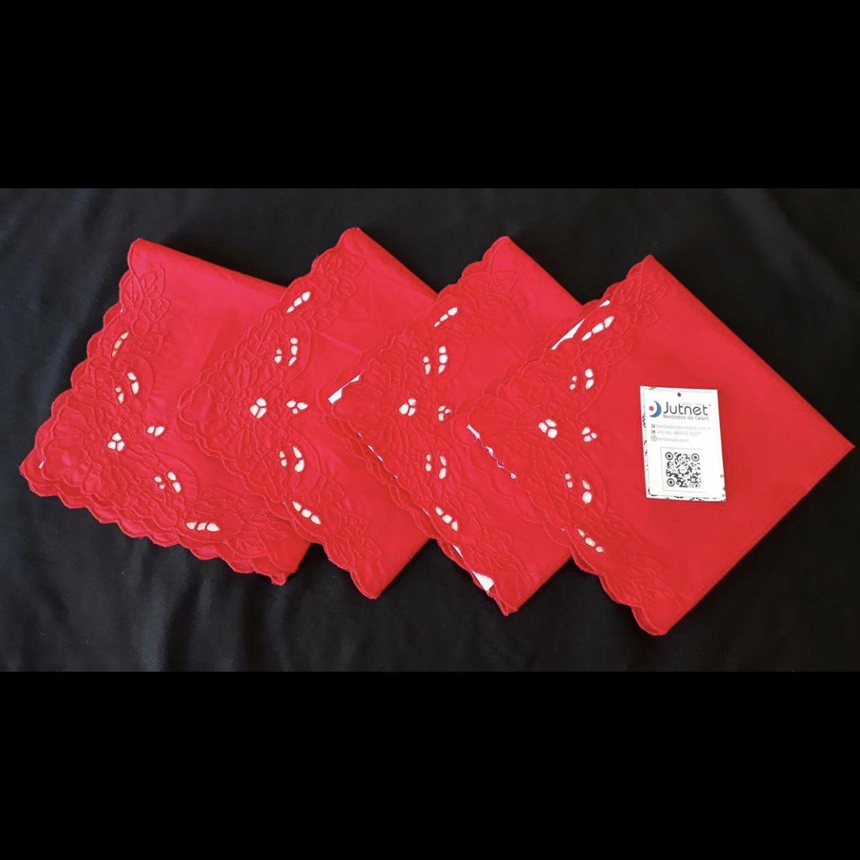 Guardanapo 100% Algodão 40x40 Bordado Richelieu Imperial Vermelho (4 Unid.)   - Bordados do Ceará - Jutnet