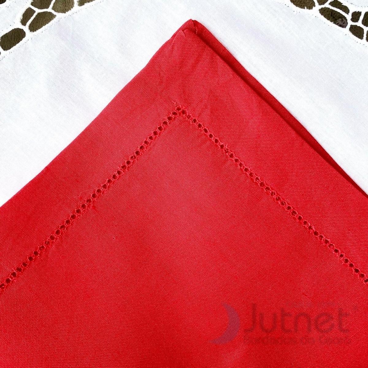 Guardanapo 40x40 Bainha Ponto Ajour 100% Linho Vermelha  - Bordados do Ceará - Jutnet