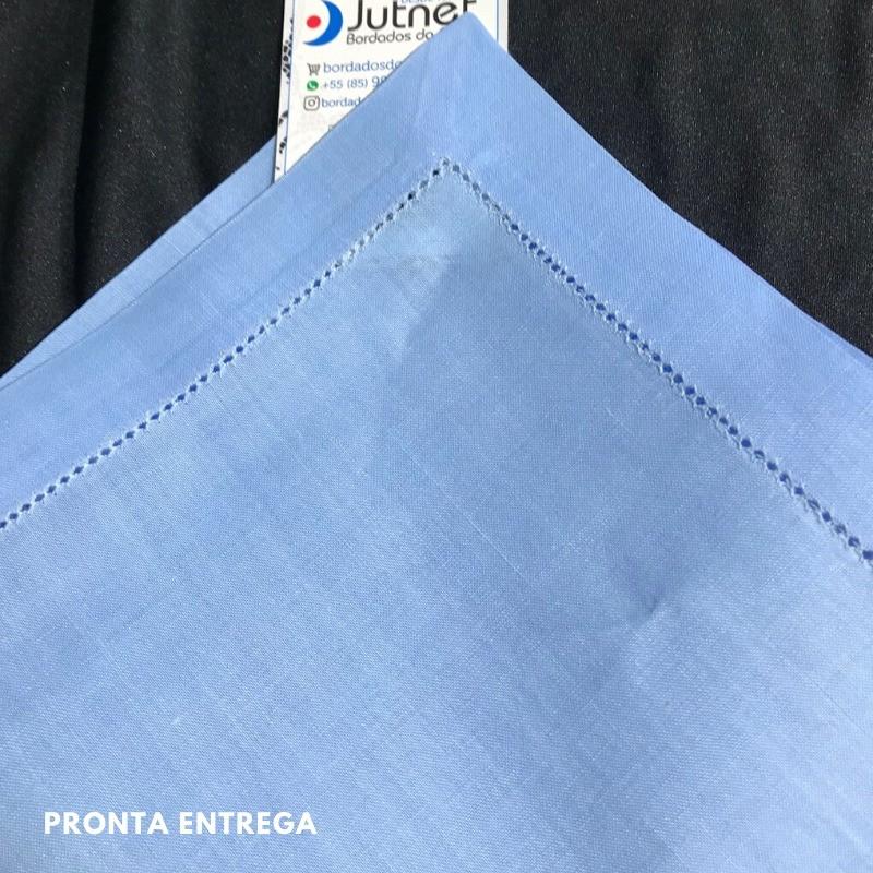 Guardanapo 40x40 Bainha Ponto Ajour no 100% Linho Azul Bebê  - Bordados do Ceará - Jutnet