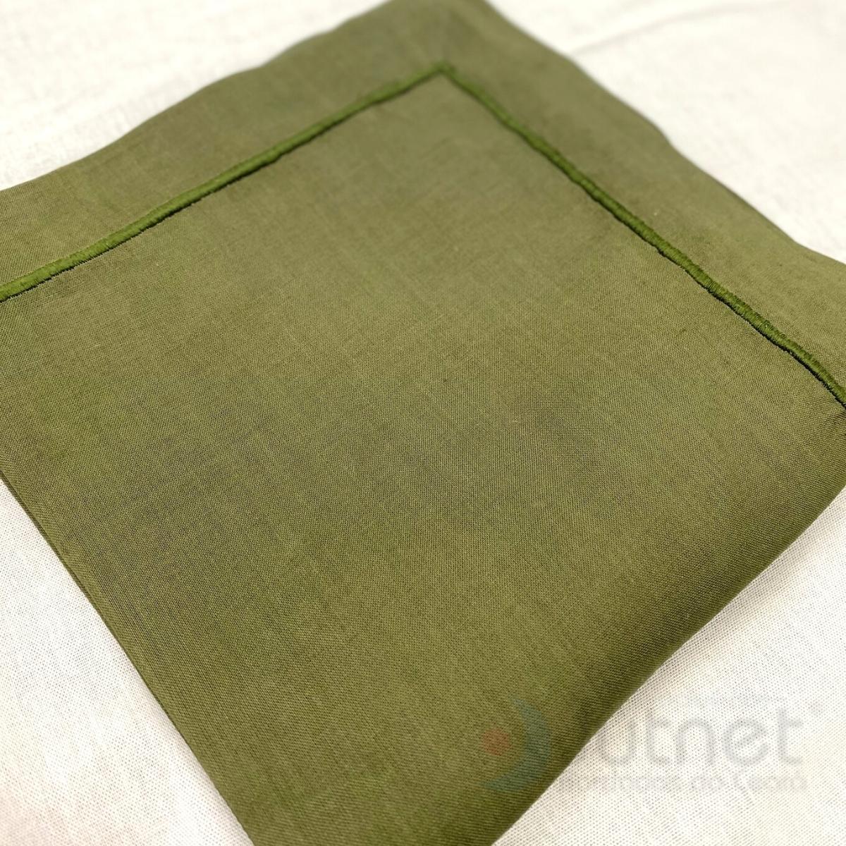 Guardanapo 50x50 com Bainha Ponto Cheio 100% Linho Verde Musgo  - Bordados do Ceará - Jutnet