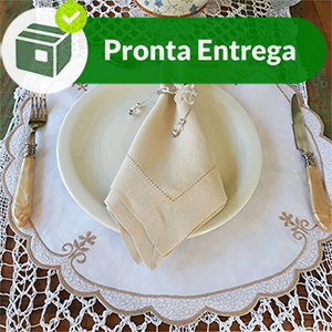 GUARDANAPO BAINHA PONTO AJOUR LINHO RAMI BEGE 50X50 (4 UNID.)  - Bordados do Ceará - Jutnet