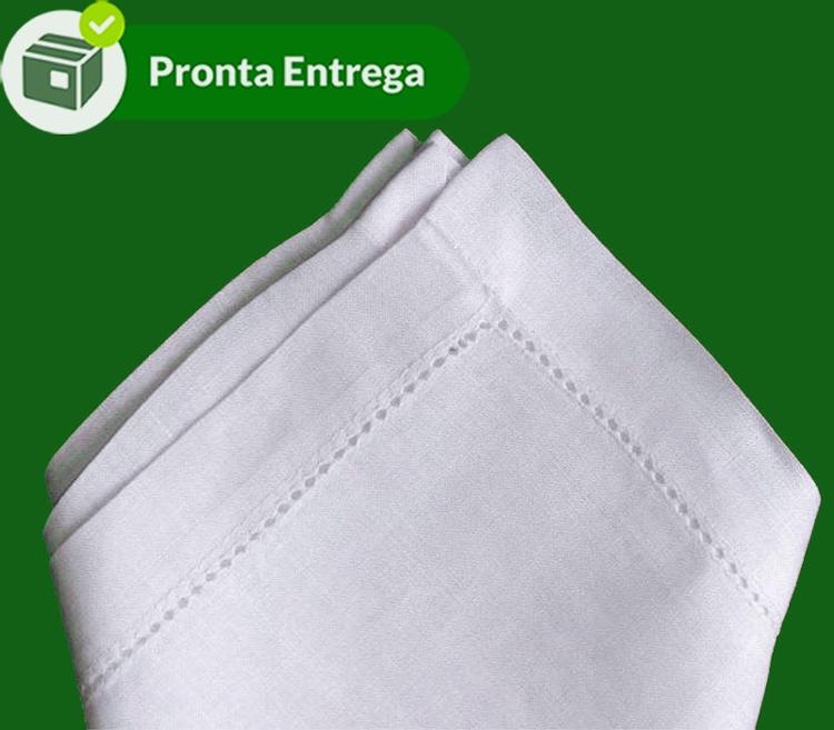 Guardanapo Bainha Ponto Ajour 50x50 cm Linho Branco (4 unid.)  - Bordados do Ceará - Jutnet