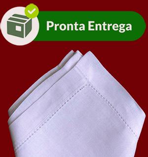 Guardanapo Linho Rami Bainha com Ponto Ajour 50x50 (6 unid.) Branco  - Bordados do Ceará - Jutnet