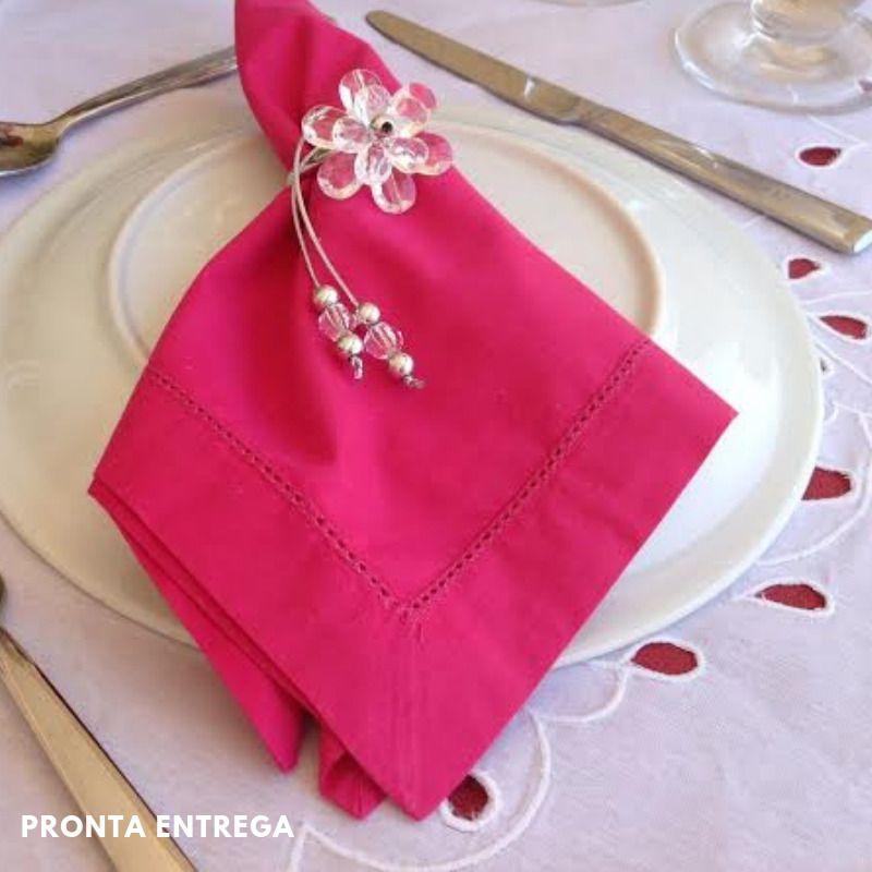 Guardanapo Bainha Ponto Ajour Percal 230 Fios 50x50 Pink  - Bordados do Ceará - Jutnet