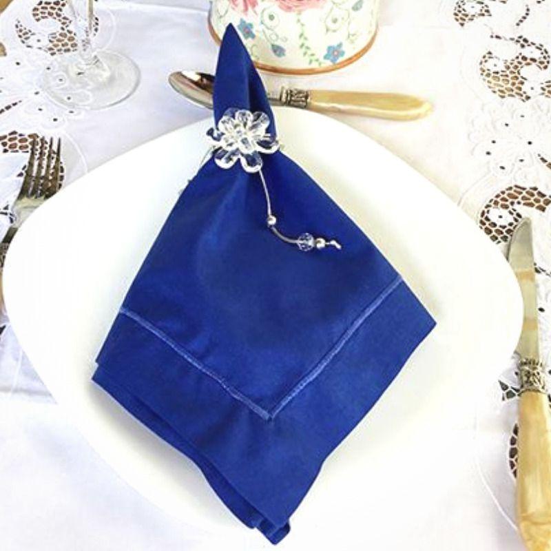 Guardanapo Bainha Ponto Cheio Percal 230 Fios 50x50 Azul Royal   - Bordados do Ceará - Jutnet