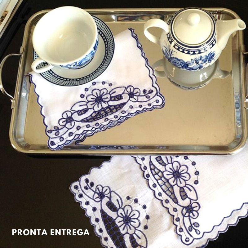 Guardanapo Coquetel no Linho em Bordado Richelieu 30x20cm (2 Unid.) Azul  - Bordados do Ceará - Jutnet