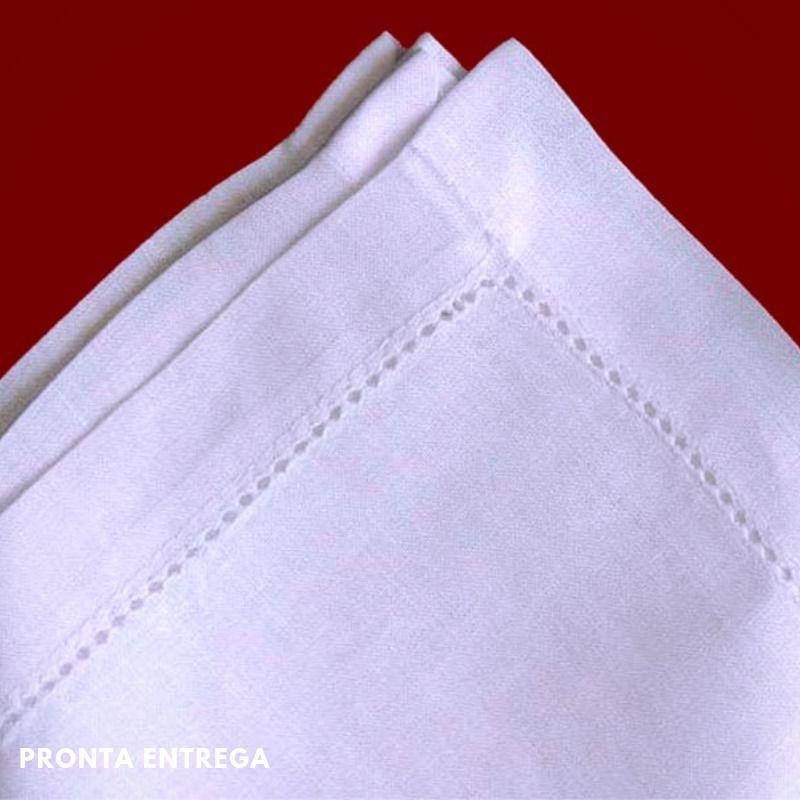 Guardanapo no Cambraia de Linho com Bainha Ponto Ajour 50x50 Branco  - Bordados do Ceará - Jutnet