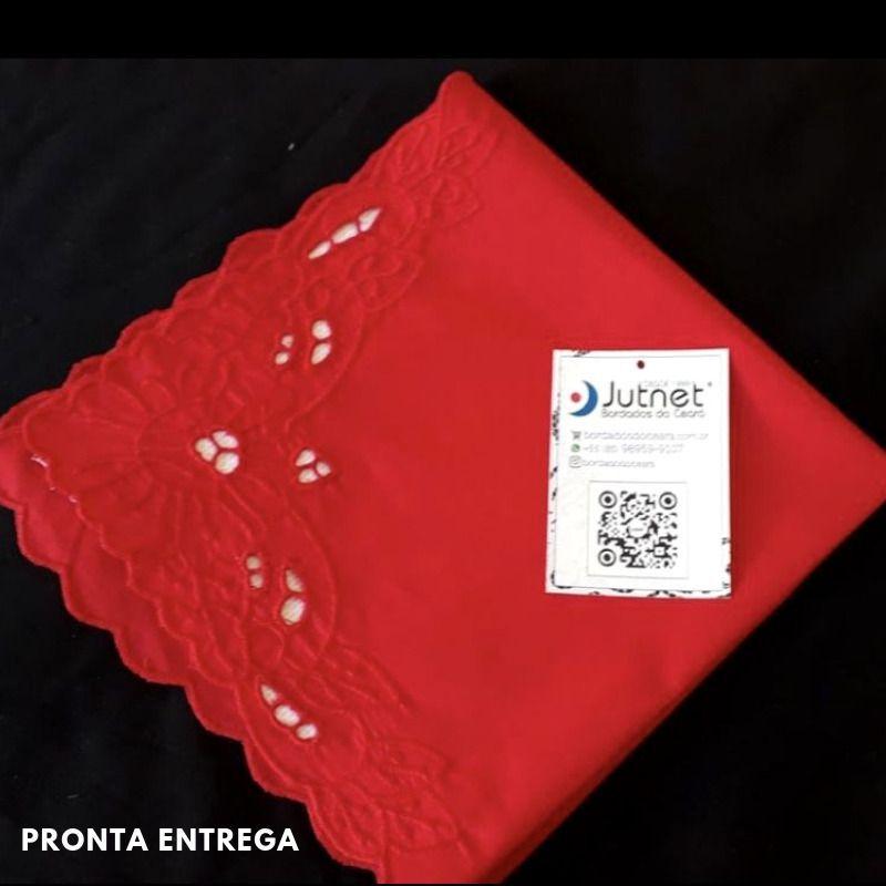 Guardanapo Bordado Richelieu Percal 230 Fios 40x40 Vermelho Imperial  - Bordados do Ceará - Jutnet