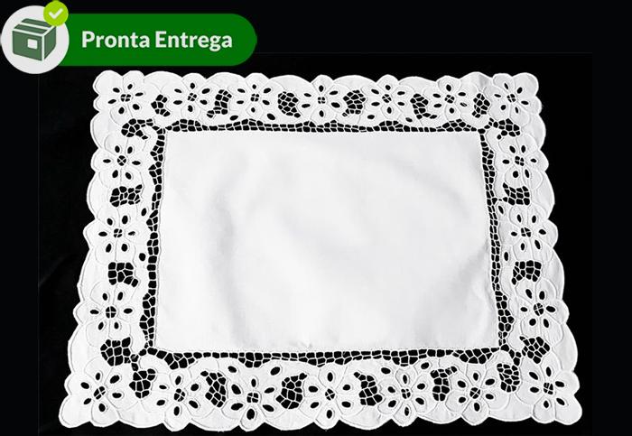 Jogo Americano Retangular 100% Algodão Bordado Richelieu Floral 48x37 (4 Unid.)  - Bordados do Ceará - Jutnet
