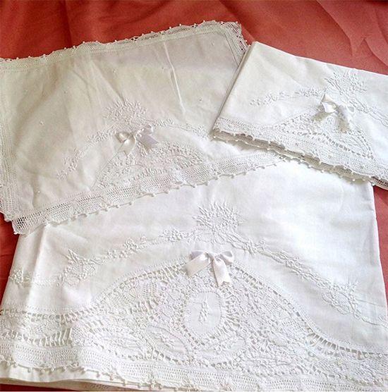 Jogo de Maternidade 100% Algodão com 3 peças Branca  - Bordados do Ceará - Jutnet