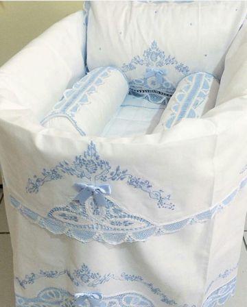 Jogo de Maternidade 100% Algodão com 3 peças Azul  - Bordados do Ceará - Jutnet