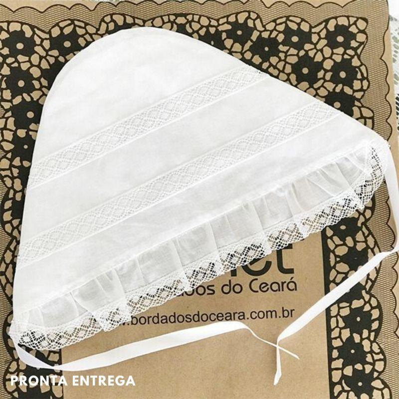 Kit 3 Peças para Batizado Mandrião + Touca + Toalha com Renda Paraíba  - Bordados do Ceará - Jutnet
