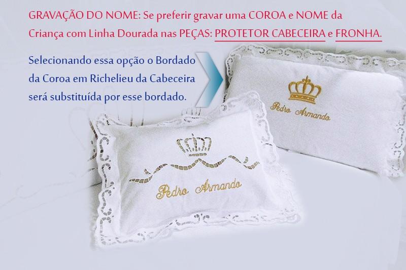 KIT BERÇO BORDADO RICHELIEU - MAJESTADE (A PARTIR DE 07 PEÇAS)  - Bordados do Ceará - Jutnet