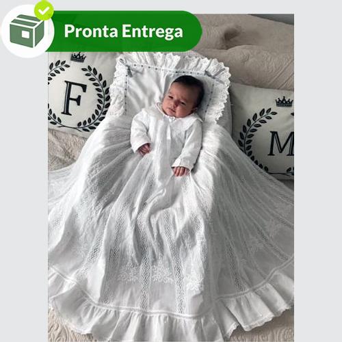 Kit com 3 Peças para Batizado com Renda Paraíba  - Bordados do Ceará - Jutnet
