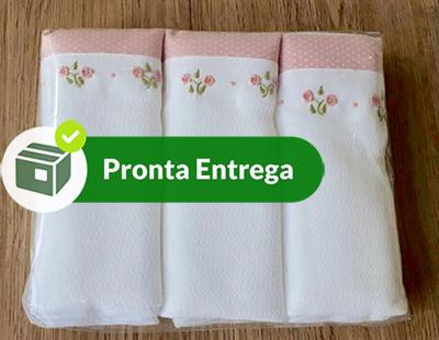 Kit Fralda com 3 Peças 100% Algodão Bordado a Mão - Menina  - Bordados do Ceará - Jutnet
