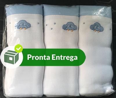 Kit Fralda com 3 Peças 100% Algodão Bordado a Mão - Menino  - Bordados do Ceará - Jutnet