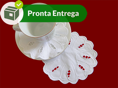 Porta Xícara com Bordado Richelieu Percal 230 Fios Primavera (6 unid.)  - Bordados do Ceará - Jutnet