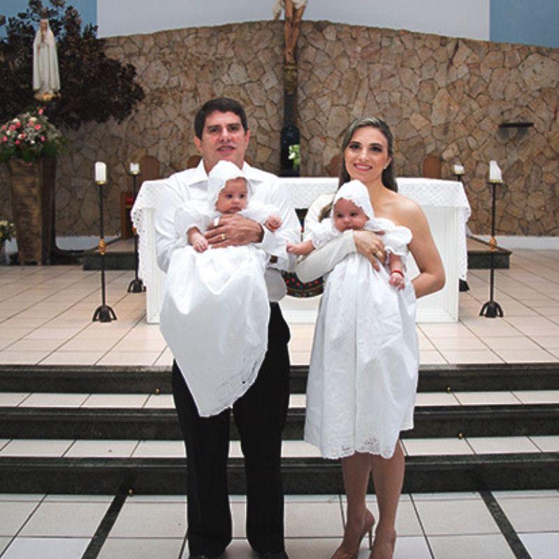 Mandrião Batismo Manga Curta com Renda Renascença Laço  - Bordados do Ceará - Jutnet