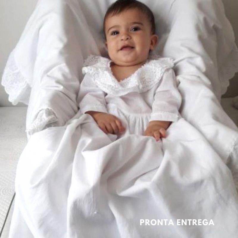 Mandrião para Batismo Manga Longa em Renda Renascença  - Bordados do Ceará - Jutnet