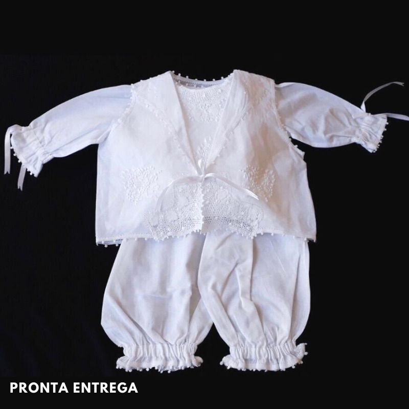 Pagão em Renda Renascença 100% Algodão com 3 Peças Branca (RN-4 m)  - Bordados do Ceará - Jutnet