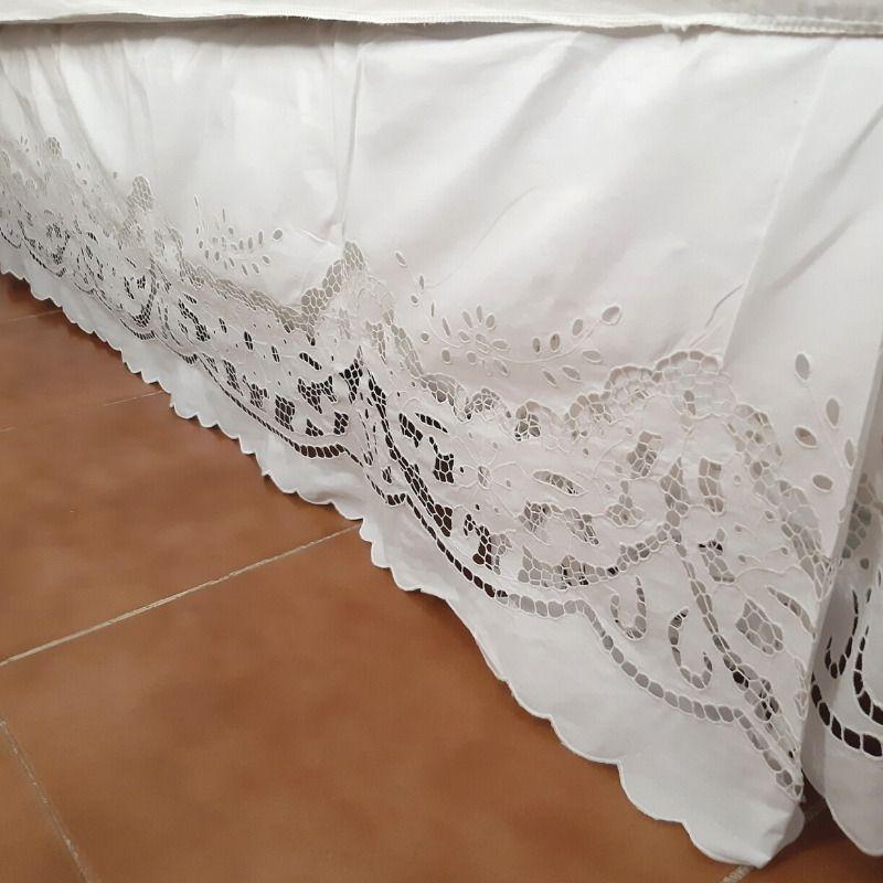 Saia para Cama Box de Casal Bordado Richelieu Percal 230 Fios Patrocínia  - Bordados do Ceará - Jutnet