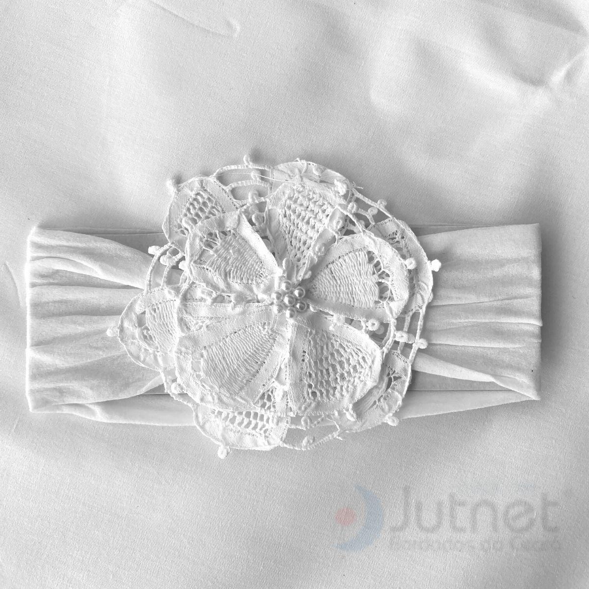 Tiara Faixa para Cabelo Flor em Renda Renascença Branco  - Bordados do Ceará - Jutnet
