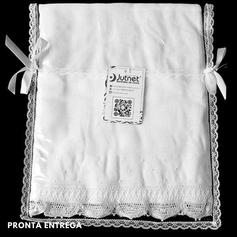 Toalha de Banho Infantil com Renda Renascença e Poá Branco  - Bordados do Ceará - Jutnet