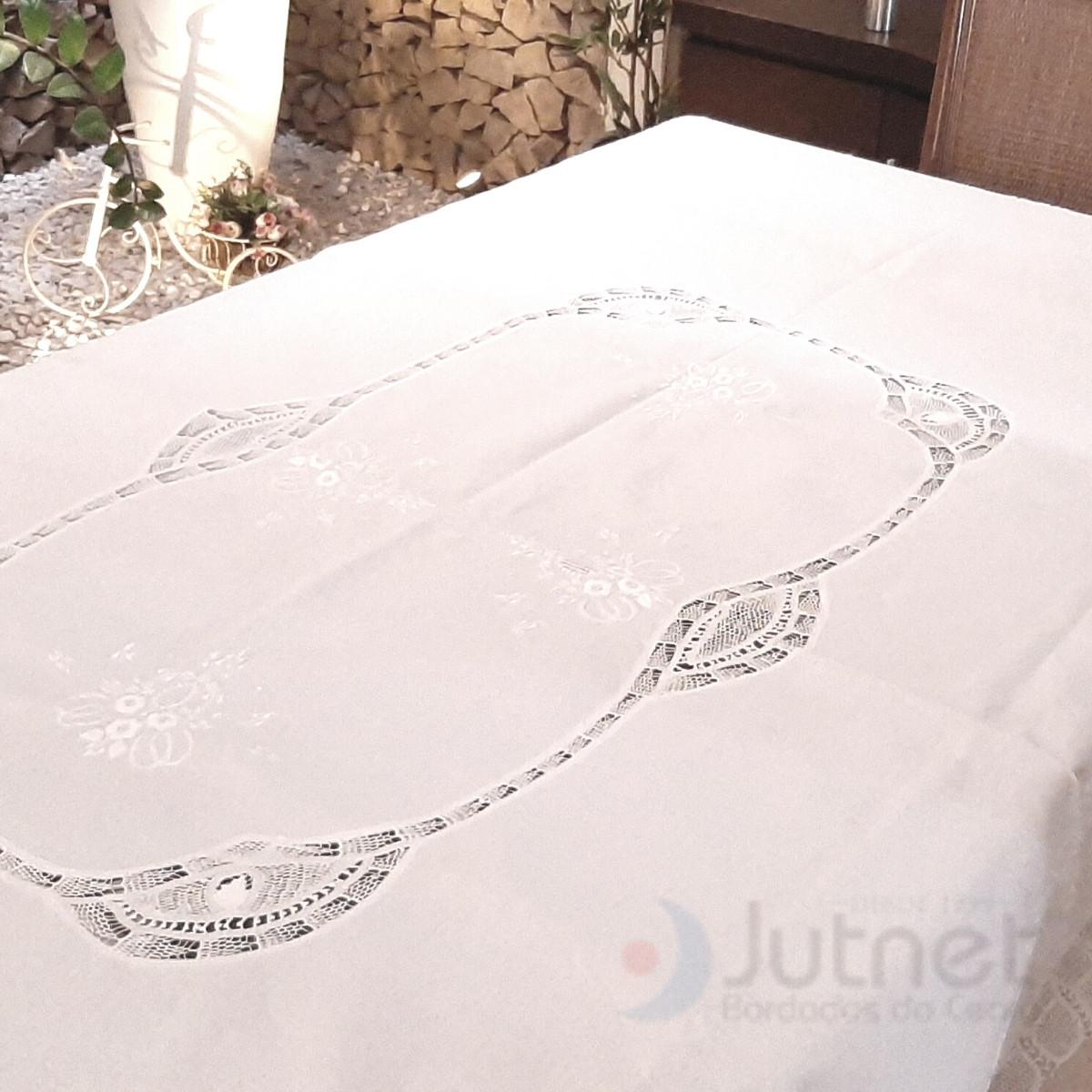Toalha de Mesa 2,60 x 1,60 m com Linho e Renda Renascença Retangular  - Bordados do Ceará - Jutnet
