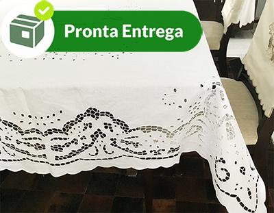 TOALHA DE MESA BORDADA RICHELIEU PATROCÍNIA 1,40 x 2,20 M  - Bordados do Ceará - Jutnet
