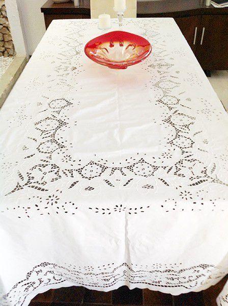 Toalha de Mesa Bordado Richelieu no Percal 230 Fios 3,50x2,50m (CxL) Patrocínia  - Bordados do Ceará - Jutnet