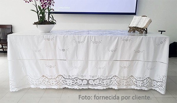 TOALHA DE MESA BORDADA RICHELIEU PATROCÍNIA (1,80 x 3,60M)  - Bordados do Ceará - Jutnet