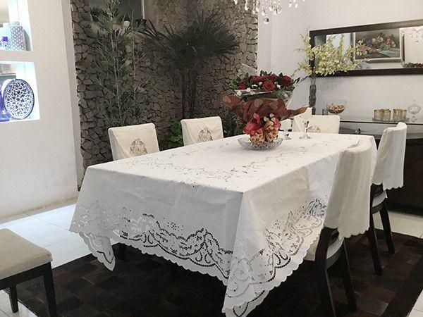 Toalha de Mesa 3,20x1,90 Bordado Richelieu Percal 230 Fios Patrocínia  - Bordados do Ceará - Jutnet