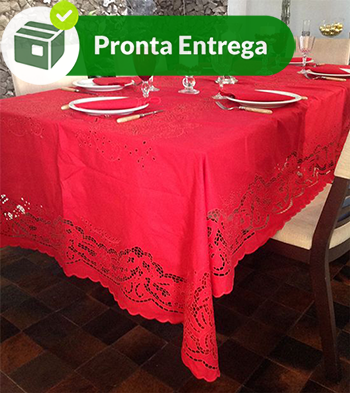 TOALHA DE MESA BORDADA RICHELIEU PATROCÍNIA - VERMELHA (1,80 x 3,0M)  - Bordados do Ceará - Jutnet