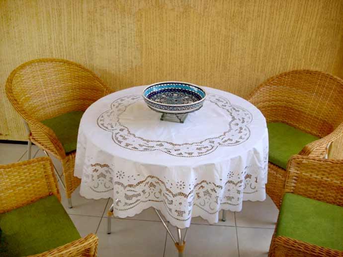 Toalha de Mesa Redonda 1,70 Bordado Richelieu Percal 230 Fios Patrocínia  - Bordados do Ceará - Jutnet