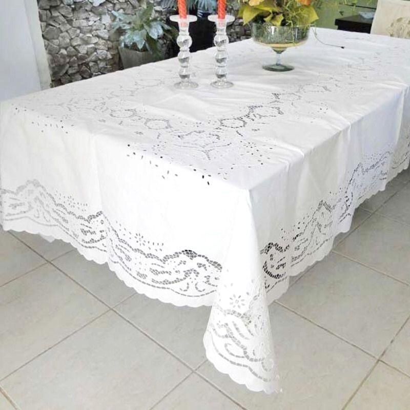 Toalha de Mesa 3,0 x 2,0 Bordado Richelieu Percal 230 Fios Patrocínia  - Bordados do Ceará - Jutnet