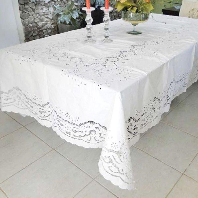 Toalha de Mesa 3,60x1,80 Bordado Richelieu Percal 230 Fios Patrocínia  - Bordados do Ceará - Jutnet
