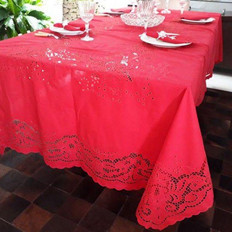 Toalha de Mesa Bordado Richelieu no Percal 230 Fios 3x1,80m (CxL) Vermelha  - Bordados do Ceará - Jutnet