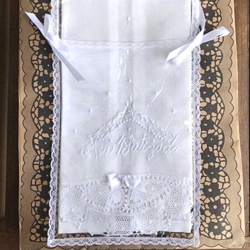 Toalha para Batizado em Linho Bordado e Renda Renascença - Grande  - Bordados do Ceará - Jutnet